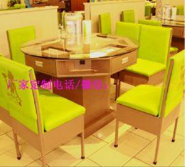 深圳湘菜餐厅饭菜真湘桌子带抽屉铁桌子多功能餐桌定制