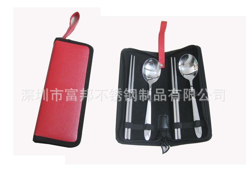 不鏽鋼環保便攜勺子筷子四件套 可印字禮品旅行食具