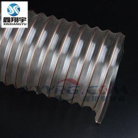深圳pu钢丝软管生产厂家/鑫翔宇透明钢丝管批发/现货工业吸尘管40