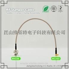 BNC08-MCX03BNC(Plug)  公针 to MCX(Plug)  公针弯式铆压接RG316_RG174同轴电缆/50Ω