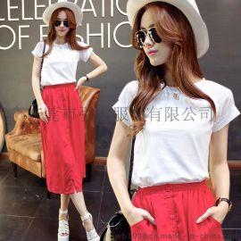 欧美2015夏季新款雪纺套头短袖T恤红色修身半身裙套女3074