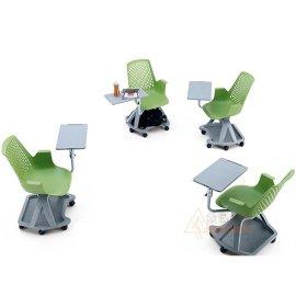 供应批发众晟家具PTC-020A写字板可360度旋带储物功能转塑料培训椅