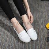 702天使美足護士鞋真皮牛筋底白色坡跟女單鞋媽媽鞋小白鞋軟牛皮女鞋
