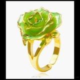 黛雅纯手工制作镀金玫瑰花戒指 绿色 精品烤漆玫瑰花 定制 批发