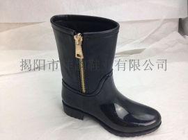 2015新款揭阳厂家供应女款时尚中筒拉链雨靴