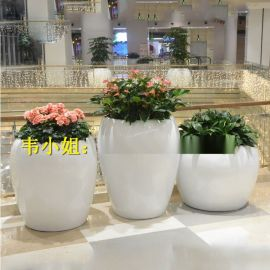 时尚**玻璃纤维花盆造型玻璃钢纤维商场美陈组合花盆雕塑厂家