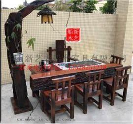 老船木家具客厅茶几船木功夫茶几茶桌椅组合阳台小茶台博古架