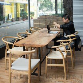新中式實木不規則自然邊會議桌辦公桌泡茶桌大長桌