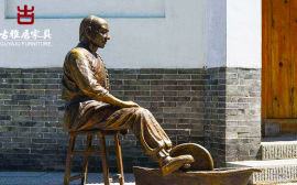 四川景观雕塑厂家,中医馆门外人物雕塑设计定制