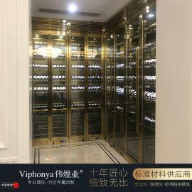 不锈钢玻璃酒柜 葡萄酒柜金属 红酒柜 展示柜商用