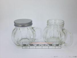 厂家生产、定制玻璃杯,把手背,南瓜把手杯,配套瓶盖