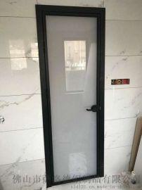 佛山定制铝合金豪华双包套卫生间浴室钢化玻璃平开门