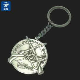 钥匙扣金属合金钥匙挂件二炮手立体浮雕钥匙链