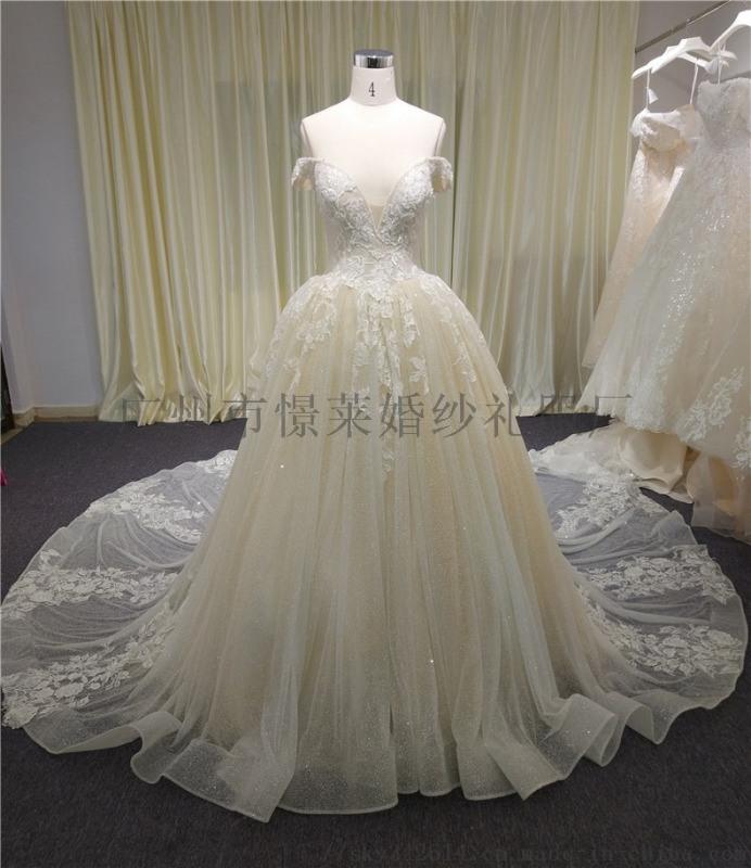 欧美外贸蕾丝大拖尾婚纱来图来样量身定制批发加工
