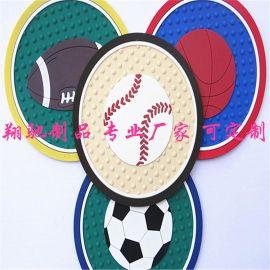 厂家直销PVC软胶杯垫 滴胶足球蓝球棒球橄榄球礼品杯垫 coaster