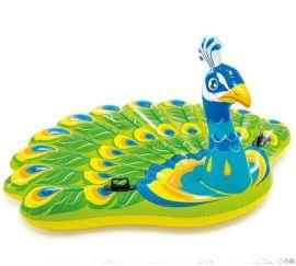 新款孔雀浮排巨型水上充气玩具坐骑动物浮标