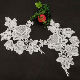 精美牛奶丝对花白色水溶刺绣立体花朵发饰服装辅料
