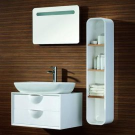 夹板浴室柜, 简约欧式洗手盆柜, 陶瓷盆柜组合FS005