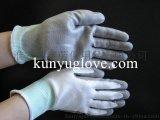 坤宇10-NL243 13針白色尼龍浸灰色PU 防靜電勞保針織手套