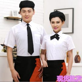 夏季正装白色衬衫男女餐饮酒店餐厅收银员领班短袖工衣