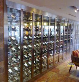 佛山不锈钢恒温酒柜定制 酒店落地红酒展示柜 会所不锈钢酒架