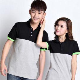 夏季工作服定做韩版休闲短袖翻领拼  侣装男女纯棉情侣装T恤衫