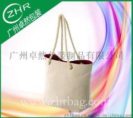 手提环保全棉帆布袋 棉绳手提购物袋 8安加密帆布