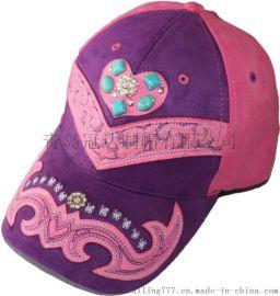 青岛冠达定制各式麂皮绒特殊款式时尚绣花宝石装饰棒球帽