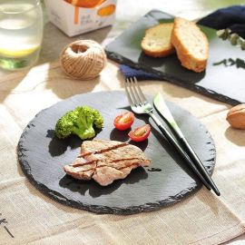 圆形石板牛排芝士餐盘黑石头盘子西餐厅隔热垫水果料理盘垫包邮