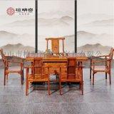 檀明宫红木家具紫檀花梨木牡丹六件套茶桌椅组合中式功夫茶台茶几