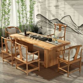 功夫实木北欧茶几 新中式茶桌批发 茶台不规则原木泡茶仿古家具桌