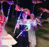 網紅同款閃光蝴蝶發光帶音樂電動蝴蝶地攤夜市發光玩具