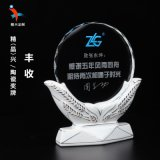 广州陶瓷荣誉水晶奖牌 老干部退休纪念奖牌 白瓷奖牌