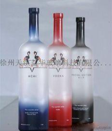 徐州玻璃瓶厂家直销750毫升红酒瓶烤花蒙砂红酒瓶