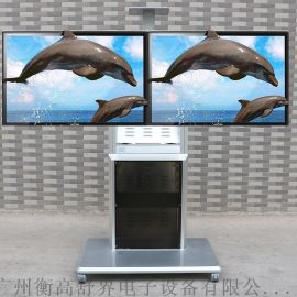 双屏液晶电视移动支架上下两层移动推车带终端柜