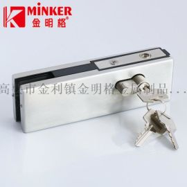 高品质不锈钢玻璃门夹锁,全铜拉丝锁胆地锁