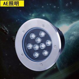 AE照明埋地燈18W9W6W5W12W3W七彩RGB地埋燈戶外防水草坪射燈