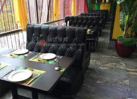 直销西餐厅茶餐厅咖啡厅简约靠墙卡座沙发桌椅组合定制做绿色现代