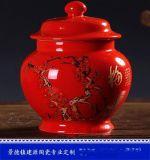 景德鎮廠家定製陶瓷茶葉罐  手繪紅色茶葉罐 陶瓷罐子廠家