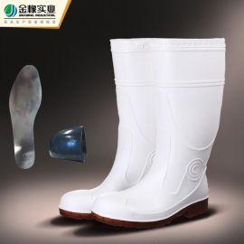 金橡pvc雨鞋批发高筒劳保雨鞋雨靴钢头防砸耐酸碱雨靴803