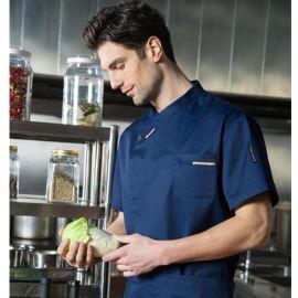 供应夏季时尚短袖黑色厨师服酒店厨师工作服餐厅后厨工装
