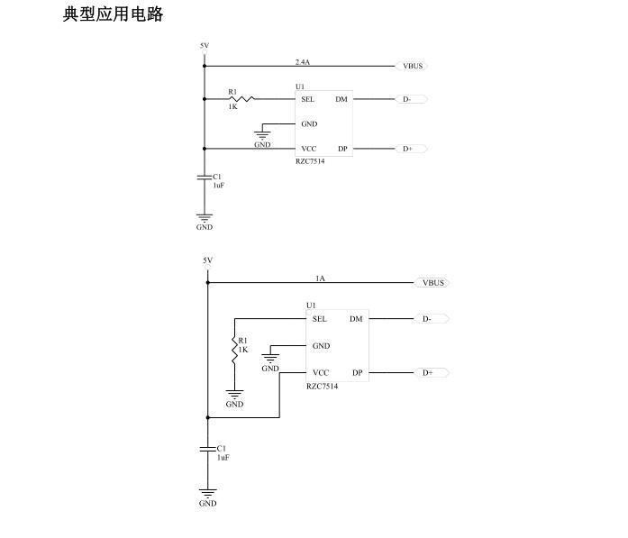 RZC7514符合5W/12W两种功率的USB车载电源充电器方案