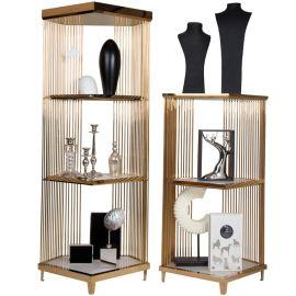 陈列架置物移动铁艺 不锈钢精品展示中岛架 储物柜镀金橱窗展示架