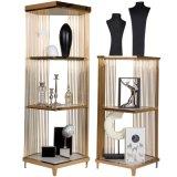 陳列架置物移動鐵藝 不鏽鋼精品展示中島架 儲物櫃鍍金櫥窗展示架