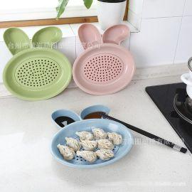 餃子盤環保小麥桔梗餃子盤**瀝帶醋碟水餃子盤卡通餃子盤食具