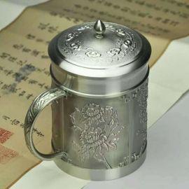 泰國錫器 四季呈祥蓋杯 商務 藝術 家居