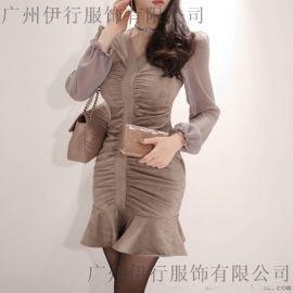 一三国际棉麻系列女装品牌尾货折扣女装 杭州有没有服装尾货批发市场深蓝色休闲裤