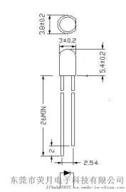 厂家直销f3长脚绿发绿565-570nm直插灯珠led3mm发光二极管---荧月