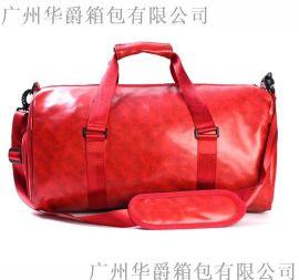 厂家订制PU皮旅行包带鞋袋运动包手提健身包