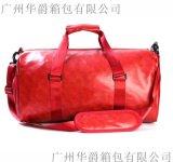 廠家訂制PU皮旅行包帶鞋袋運動包手提健身包